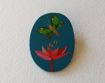 Brooch - Butterfly green - hand painted.