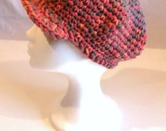 Mottled beanie crochet. Crochet hat mottled red.