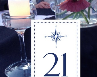 Compass Table Numbers, Nautical, Beach, Seaside, Navy Blue Table Numbers, Shore Table Numbers, 1 - 50 Instant Download and Print