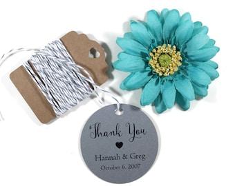 Custom Circle Shaped Tags Set of 20 - Grey Round Tags - Bridal Shower Tags - Wedding Favor Tags - Dark Grey Bridal Shower - Thank You Favors