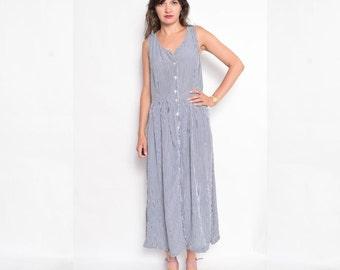 Vintage 90's Button Maxi Dress / Sleeveless Checkered Dress