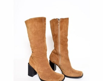 Vintage 90's Brown Suede Chunky Heel Boots with Side Zippers