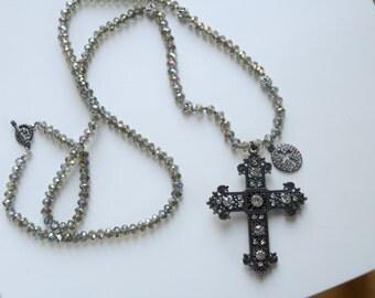 Beige Crystal Rhinestone Crosses Long Necklace