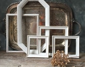 Wood Picture Frames: Set Of Five Distressed Painted White Frames, Vintage Cottage Chic Frames, Home Decor, Wedding Decor, Nursery Decor