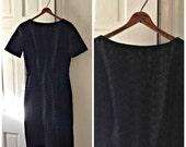 1960s Black Dress Vintage Eyelet Wiggle Dress // small 4 6 // lbd mad men sexy sheath cotton joan holloway sixties