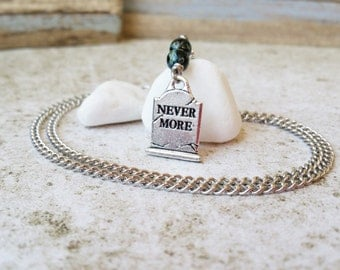 Nevermore Necklace, Edgar Allan Poe The Raven, Goth RIP Tombstone Jewelry