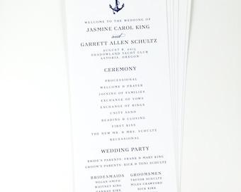 Nautical Printed Wedding Program, Anchor, Preppy, Hamptons Wedding Program
