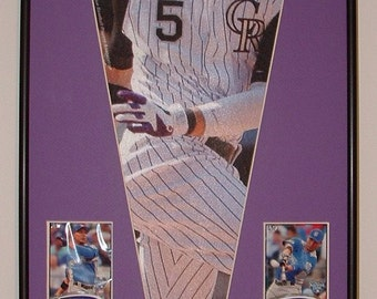 Colorado Rockies Carlos Gonzalez Pennant Framed with cards..Custom Framed!!