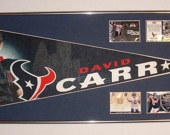 Houston Texans David Carr Pennant & Cards...Custom Framed!!!