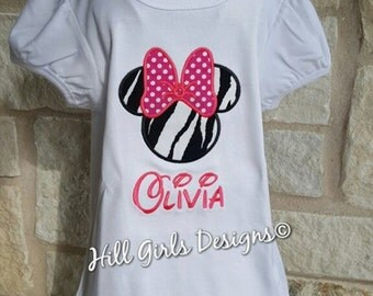 Girl's Minnie Mouse ruffled shirt with Name