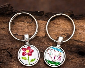 FREE SHIPPING WORLDWIDE - Your Own Childs Art or Photograph Keyring Keychain - Drawing Keychain - Art Keyring - Personalised Keychain