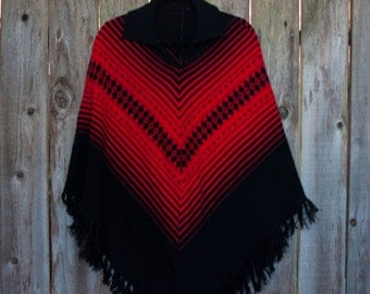 1980s Vintage Red and Black Poncho.