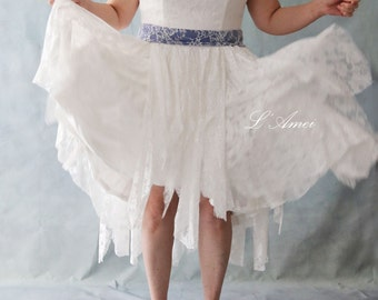 Short and Simple A-line Ivory White Lace Wedding Dress Perfect for Beach or Garden Wedding - AM1956080