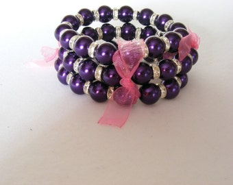 Dark Purple Trio of Stretchy Bracelets