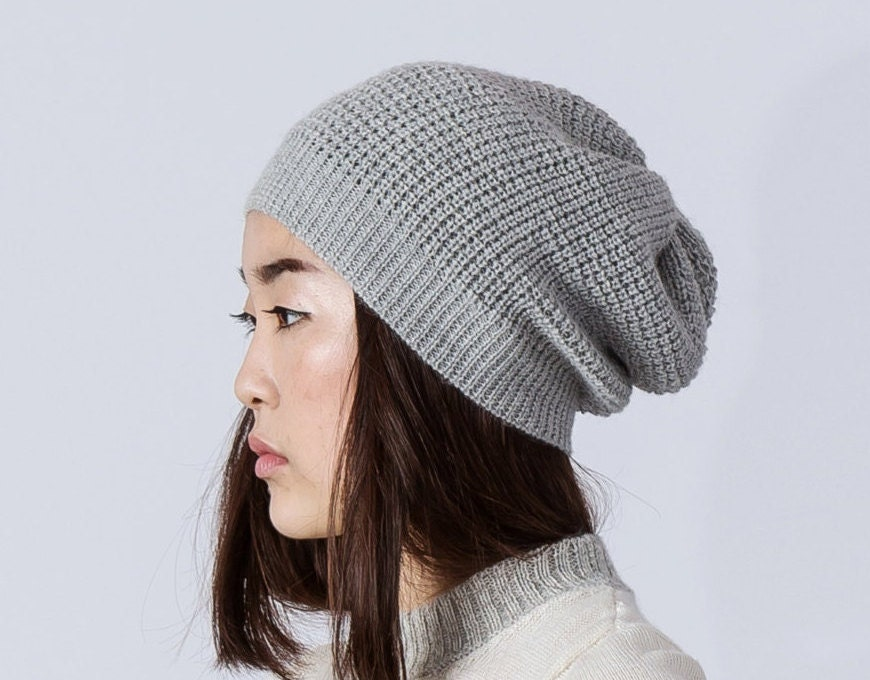 Knitted Hat Patterns For Alpaca Yarn : Waffle pattern alpaca hat / gray slouchy hat / knit alpaca hat