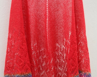 100% Wool Hand Knitted Lace Shaw. Gift under 50 USD. Ready to Ship.