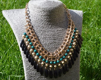 Chain link statement necklace with blue green detail (free UK shipping)