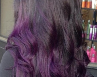 Clip in virgin Human Hair Extensions 1 B (Natural black) - purple Ombre