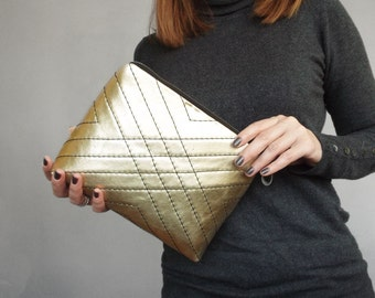 Gold leather cosmetic bag. Gold leather clutch. Leather toiletry case gold.  Golder make up purse.