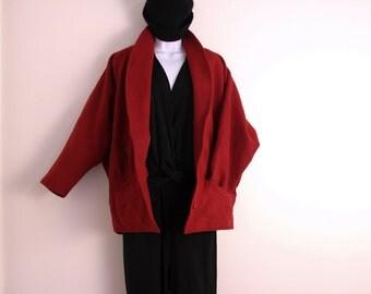Vintage red winter coat size S wool burgundy wine color 1980s