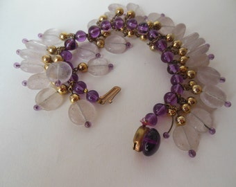 Vintage French purple and clear frosted glass bead bracelet