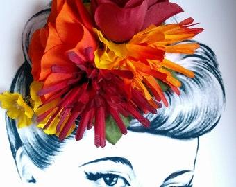 Pumpkin Spice Pin Up Hair Flower Pin Up Rockabilly