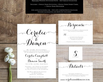 Printable Wedding Invitation Suite - the Coralie Collection