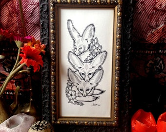 Large Fennec Foxes • Big Eared Beasts in Vintage Style Wooden Frame