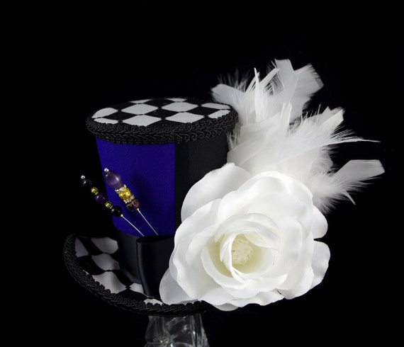 Black, White, and Purple Color Blocked White Rose Large Mini Top Hat Fascinator, Alice in Wonderland, Mad Hatter Tea Party, Derby Hat