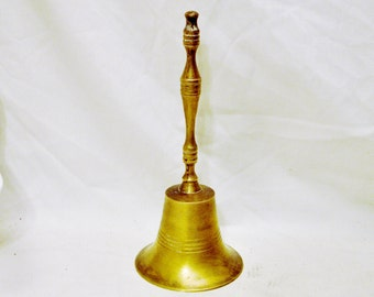 Antique School Bell Solid Brass --Tall 8.5 Inches (21.59cm) with Clear Resounding Ring!