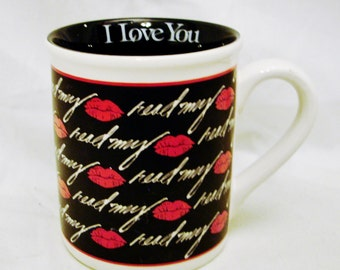 """Read my """"Lips"""" I Love You Mug- 8 Ounce Size Designed By Walter Schmidt Copyright 1990 Enesco Corporation-Made in Korea"""