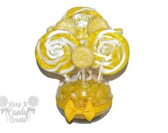 Small Yellow Lollipop Centerpiece, Wedding Centerpiece, Yellow Centerpiece, Falling Wedding Decor, Candy Table Decoration, Candy Buffet Idea