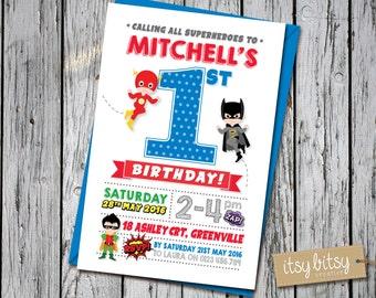 Birthday Invitation Boy, Superhero Invitation, Batman Invitation, Superhero Party, 1st Birthday Party, Flash, Spiderman, Superman Party