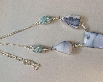 925 Silver Plated Dendritic Opal necklace