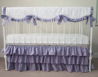 bumperless lilac purple lavender gray damask silver metallic dots baby girl crib cot bedding with crib