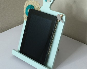 Seafoam Blue Tablet or Ipad Stand with cork board