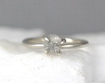 Raw Uncut Rough Diamond Solitaire Engagement Ring - 14K White Gold - Rough Diamond Gemstone Ring - April Birthstone - Anniversary Ring