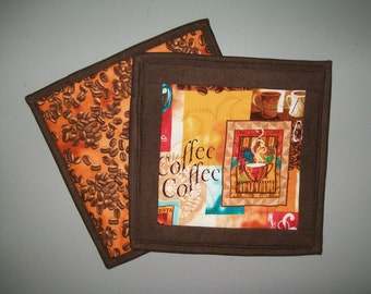 Coffee Hot Pad - terra cotta brown turquoise gold orange potholder - quilted insulated southwest pot holder - bridal shower - hostess gift