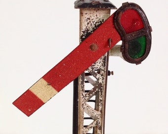 Hornby Signal, Hornby by Meccano, Tinplate Metal Figure, Vintage Miniature Train, Railway, Made in England, Shabby Toy