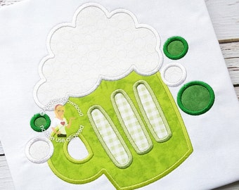 St Patricks Day Green Beer Applique Design - Instant EMAIL With Download - 4 sizes - for Embroidery Machines