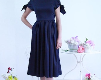 navy midi dress /  midi dress/ knee length dress/ casual dress, v back dress, calf length dress, short puff sleeve dress, dress with pockets