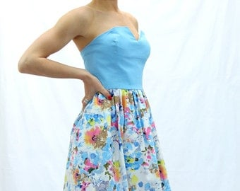Short bustier dress, strapless  blue dress, sleeveless dress, floral dress,