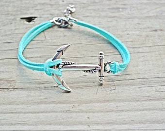 MORE COLORS. Large Anchor anklet. Nautical anklet. Comes in, white, purple, black, navy, salmon, dark aqua, royal blue, yellow...