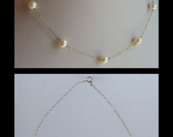 Pretty vintage 14K GOLD GENUINE PEARL chain necklace
