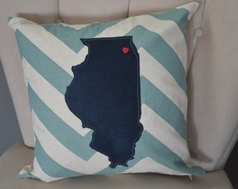 Chevron Illinois Pillow Cover! Any state custom 18 x 18 pillow cover. Free Shipping!!