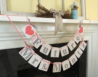 Bridal Shower Decoration FUTURE MRS. Banner Wedding decoration banner Custom name Engagement  photo prop Peach and Grey Or Custom Colors