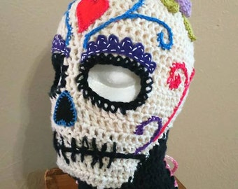 Sugar Skull Balaclava- wearable unique art