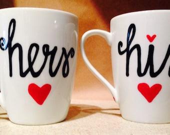 His and Hers Coffee Mug Set - wedding gift - anniversary gift- Shower gift - wedding