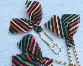 Fabric Clips Diagonal Stripes - Planner Clips / Bookmarks