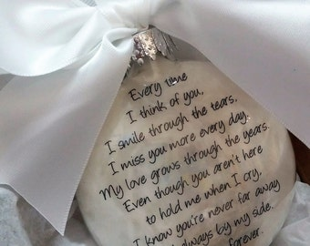 Memorial Ornament In Memory Gift Loss of Husband Loss of Wife Every Time I think of You Spouse Sympathy Personalized Bearevement Gift Custom